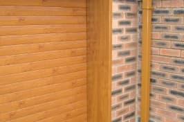 wooden garage doors side