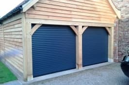 two blue roller garage doors