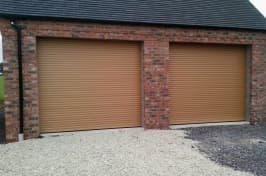 two brown roller garage doors